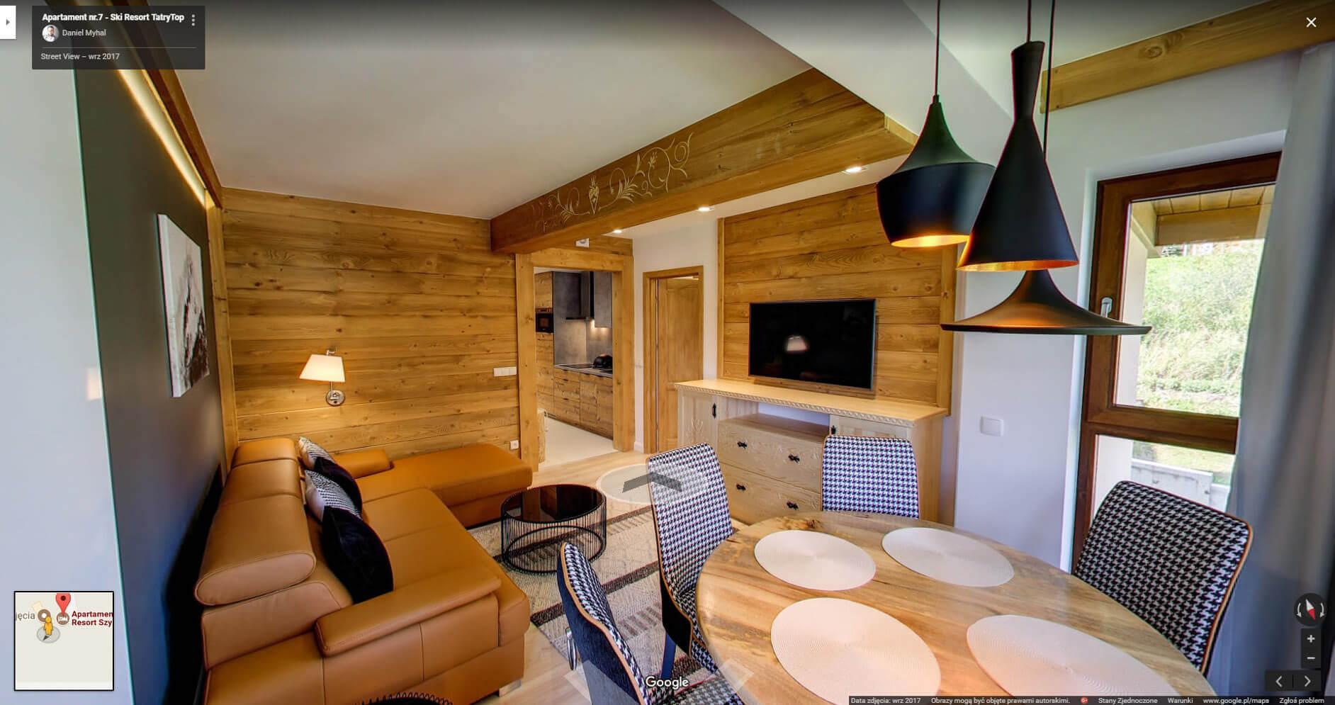 Apartament na wynajem wirtualny spacer google fotograf wnętrz Daniel Myhal Apartament Ski Resort