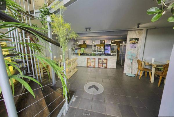 Wirtualny spacer w lokalu gastronomicznym Kraków Google street View Farma Burgerownia roślinna
