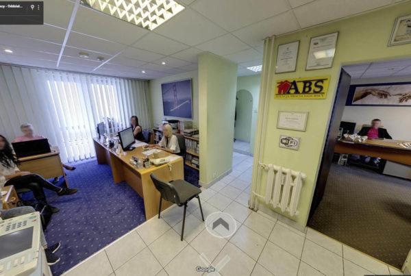 Wnętrza firmy w Google street view wirtualny spacer Biuro nieruchomości Bracia Sadurscy