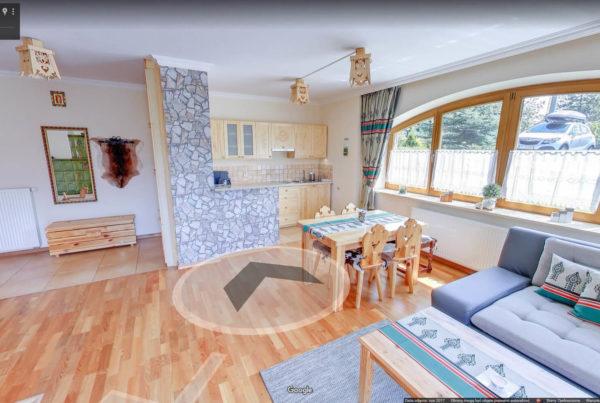 Apartament Tatrachata wiertualny spacer Google fotografia wnętrz Kościelisko