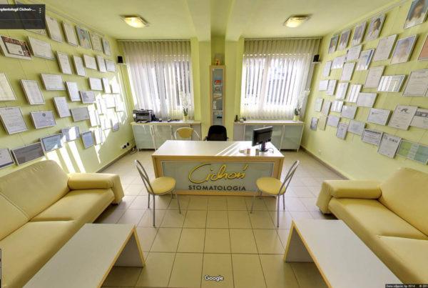 Centrum Stomatologii Cichoń w mapach Google wnętrza firmy fotografia wnętrz Kraków