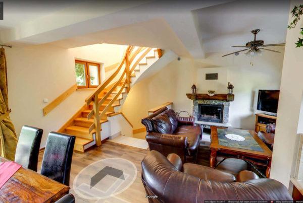 Zdjęcia wnętrz google 360 stopni wirtualny spacer Dom na wynajem Figaro Zakopane